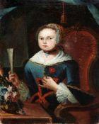 Portrait eines jungen MädchensÖl/Leinwand, doubl. Portrait eines jungen Mädchens in