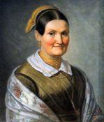 Paar Biedermeier-GegenstückePastellkreide/Papier. Porträt einer Frau und eines Manne