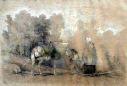 """BegrüßungBleistiftzeichnung. Ein Mann begrüßt Frau und Pferd. Verso am Rahmen """"Jea"""