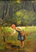 Beim BlumenpflückenÖl/Malkarton. Mädchen mit roter Kappe am Waldrand beim Blumenpfl