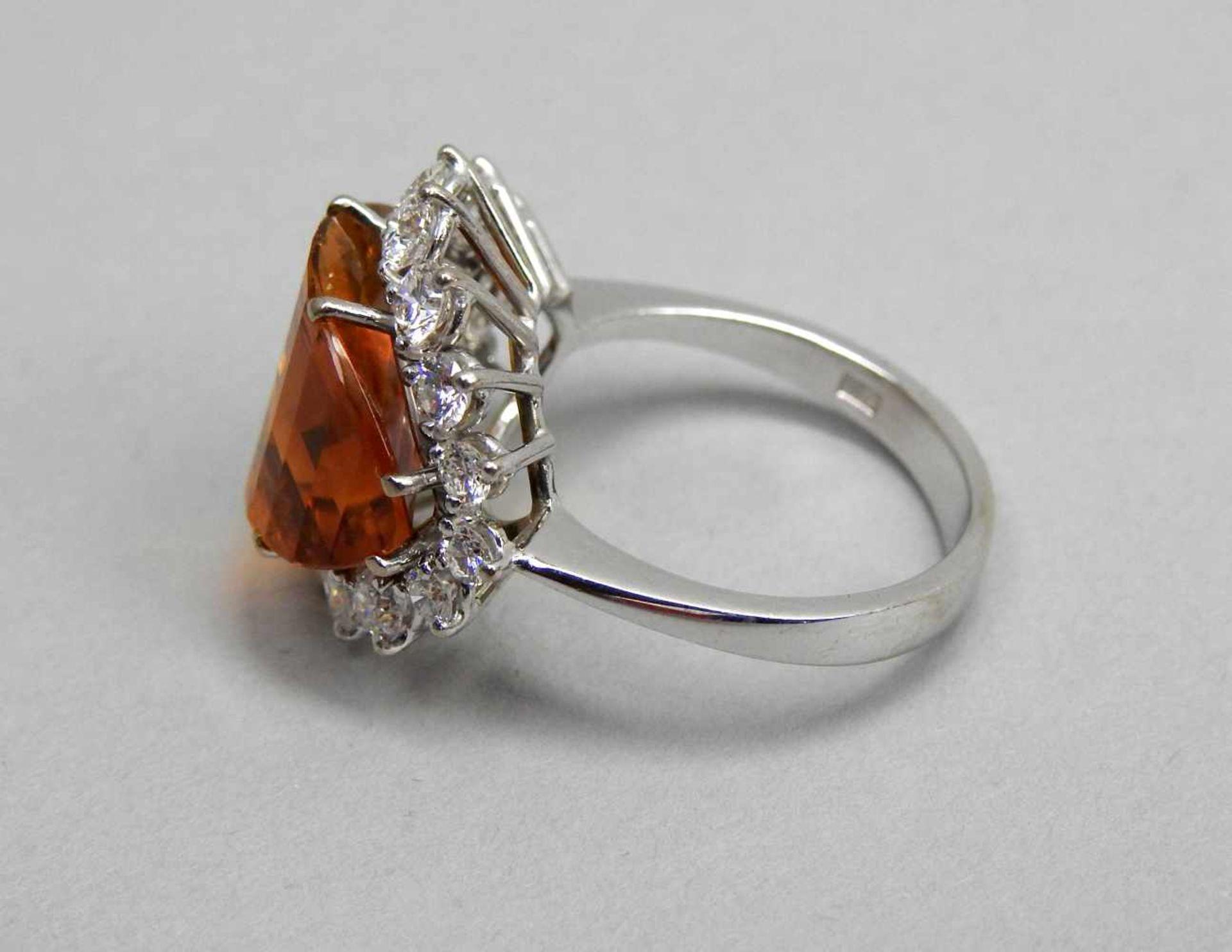 Großer Citrin-Diamant-Ring18 K. Weißgold mit großem Citrin, ca. 5 ct und Diamanten, - Image 2 of 3