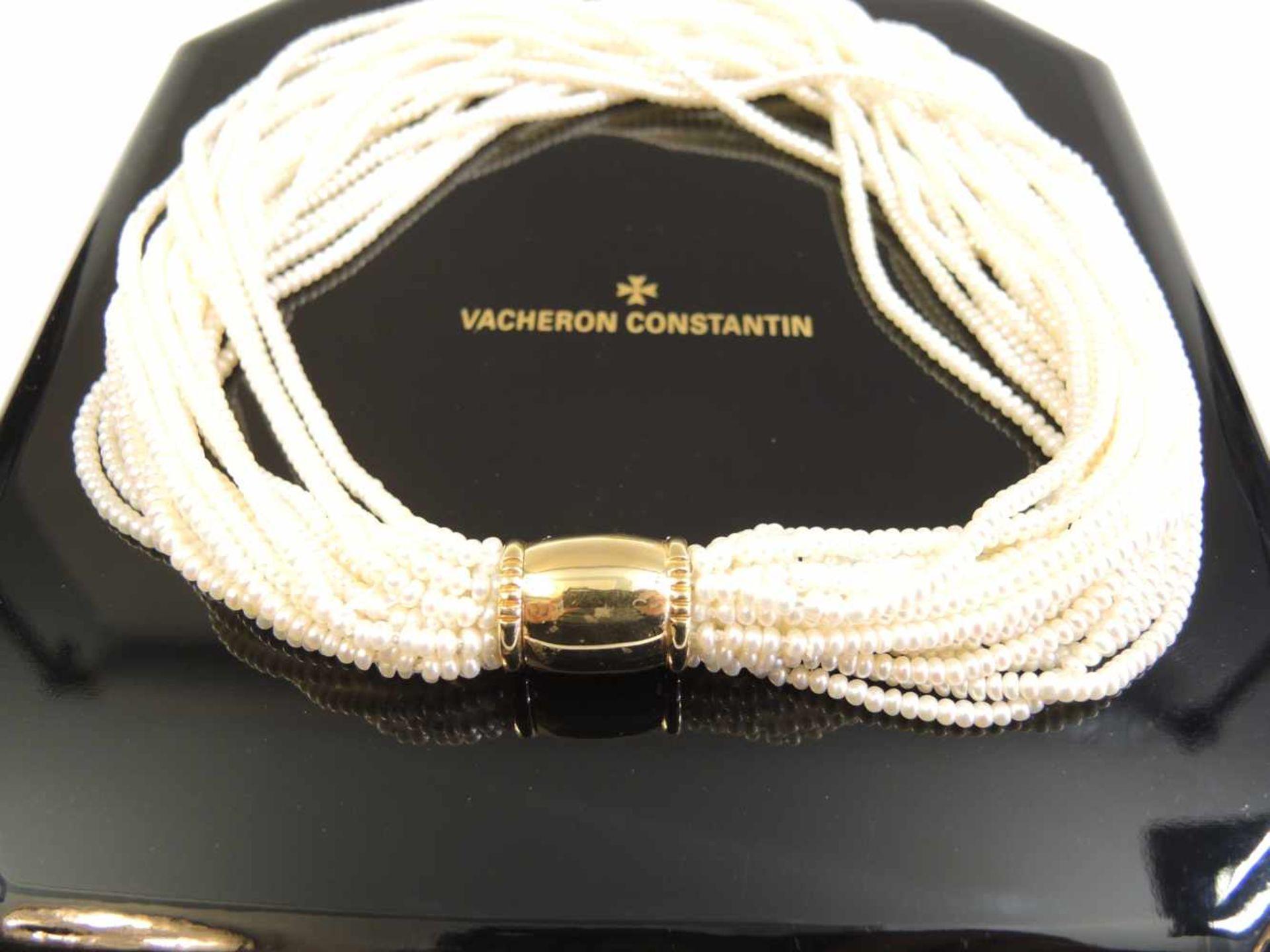 Vacheron Constantin, Perl-Gold-CollierGold, schweres Mittelteil und feine Perlensträn - Image 2 of 2