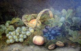 Marie van Os, 1780 Haag - 1862 ebendaÖl/Holz. Stillleben mit Obstkorb. Verso am Klebe