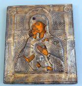 Ikone der Gottesmutter von WladimirEitempera/Holz mit versilbertem Kupferoklad. Darste