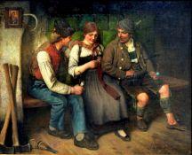 Maximilian Wachsmuth, 1859 Laßrönne – 1912 MünchenÖl/Leinwand. Auf einer Ofenban