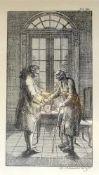 Daniel Chodowiecki, 1726 Danzig - 1801 BerlinLithographie/Papier. Zwei Männer vor dem