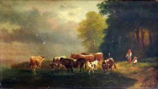 Kuhherde bei der TränkeÖl/Leinwand. Ein Bauernpaar führt eine Kuhherde zum Trinken