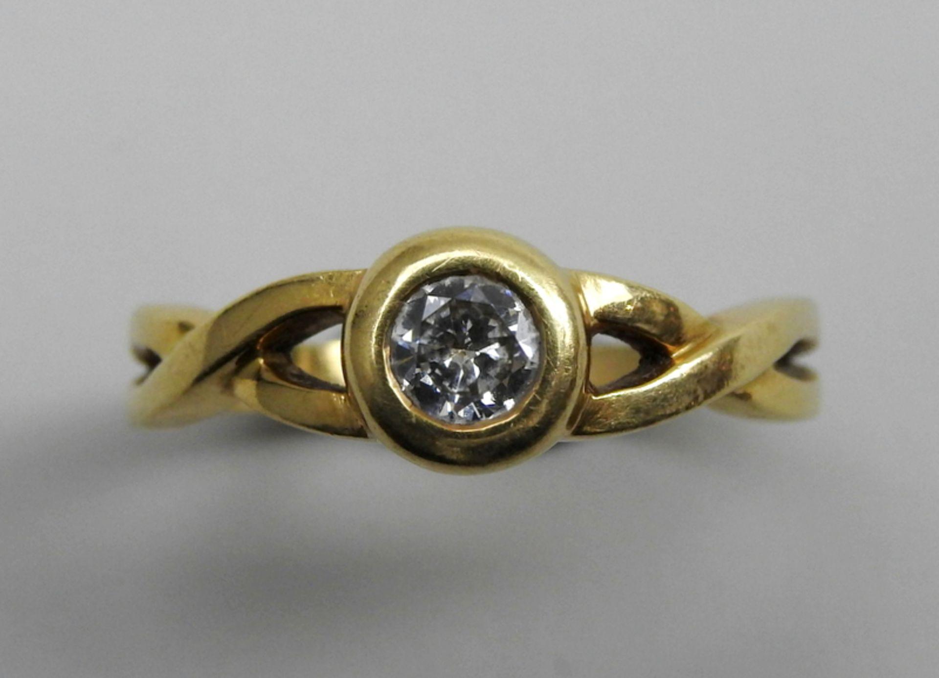 Schwerer Diamant-Ring18 K. Gelbgold. Herren-Ring mit zentralem Diamant-Besatz von ca. - Image 4 of 6