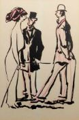 Beim GesprächOffsetfarbdruck. Diese Zeichnung zeigt zwei Herren im Gespräch mit eine