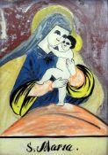 Maria mit dem JesuskindHinterglasmalerei. Marienbildnis mit dem Jesuskind vor dunkelro