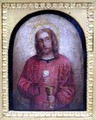Jesus Christus mit den eucharistischen GestaltenÖl/Leinwand. Kleines Gemälde im Halb