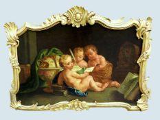 Barocke Darstellung dreier PuttiÖl/Leinwand, auf Hartfaserplatte aufgezogen. Drei Put