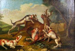 HirschjagdÖl/Leinwand. Vier Jagdhunde erlegen einen am Boden liegenden Hirsch. Alters