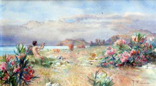Julien Renevier, 1847 Lausanne - 1907 ebendaAquarell/Papier. Musizierender Jüngling i