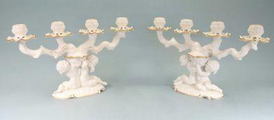 Hutschenreuther, Paar KerzenleuchterPorzellan goldstaffiert, am Boden mit unterglasurg