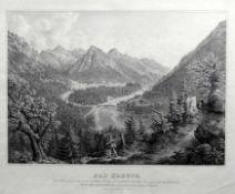 Gustav Kraus, 1804 Passau – 1852 München Lithographie/Papier. Blick von einer Anhö