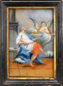 Heiliger Matthäus Evangelist Hinterglasmalerei. Detailreiche und feine Darstellung de