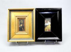 Paar Miniaturen Gouache/Bein. Bildnis einer Mandoline spielenden Dame, unten rechts mo