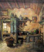 Harry Zeegers, 1929 Oss Öl/Leinwand. Farbenfrohes impressionistisches Kücheninterieu