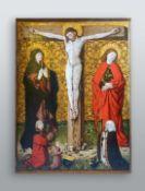 Meisterliches Gemälde, wohl Donauschule Tempera/Holz. Kreuzigungsgruppe mit Darstellu