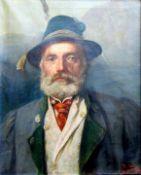 Paul Wagner, 1864 – tätig in Bayern Öl/Leinwand. Frontales Portrait eines Jägers