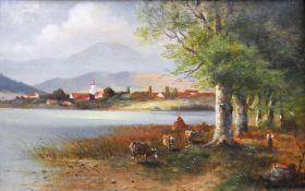 Franz Reder-Broili, 1854 Mellrichstadt - 1918 München Öl/Holz. Seeansicht vor Bergku