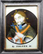 Heiliger Johannes Nepomuk Hinterglasmalerei. Im Kreis dargestellter Hl. Johannes Nepom