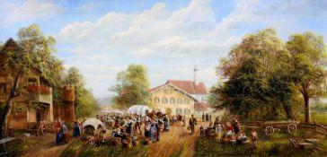 Anneliese Ladas, 1941 Oberbayern Öl/Holz. Bauernmarkt in einem Dorf, der von vielen m