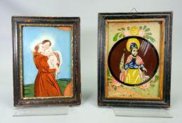 Heiliger Florian und Heiliger Antonius von Padua Hinterglasmalerei. Im Tondo dargestel