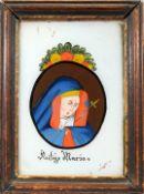 Heilige Mater Dolorosa Hinterglasmalerei. Im Kreis dargestellte Gottesmutter, leidend