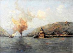 Dampfschiffe auf einem Fluss vor Hafenstadt Öl/Leinwand. Dampfer auf einem Fluss. Am