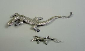 Paar Broschen in Eidechsenform Silber 835 und Sterling (große Brosche). Paar Broschen