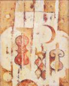 Kosmographie Acrylfarbe/Holz. In erdigen Farbtönen gehaltene, in abstrakten Form gefa