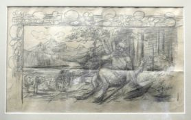 Das Flötenspiel Pans Bleistift/Papier. Skizze des Gottes Pan, der am Waldesrand auf e