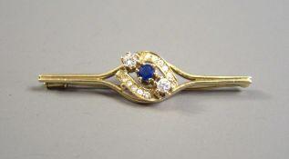 """Zeitlose Stabbrosche 14 K Gold, gestempelt. Juwelier Punze """"B"""". Schöne Brosche be"""