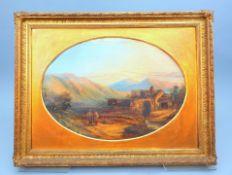 Feines Landschaftsgemäldepaar Öl/Leinwand. Zwei ovale Landschaftsgegenstücke in fei