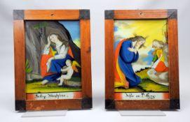 Paar Hinterglas-Darstellungen Hinterglasmalerei. Vor naturgetreu ausgeführtem Hinterg