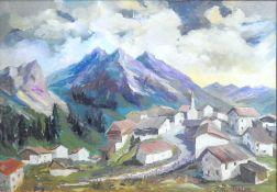 Stimmungsvolle Ansicht eines Bergdorfes Öl/Hartfaserplatte. Ein Bergdorf liegt in ein