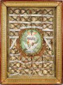 Außergewöhnliche Klosterarbeit Aquarell/Pergament. Darstellung des Herz Jesu und des