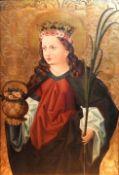 Heilige Elisabeth von Thüringen Öl/Holz. Darstellung der Landgräfin mit der Märtyr