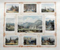 Ansichten von Wildbad Kreuth Farblithographie/Papier. 9 Lithographien verschiedener Al