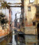 Primo Re, 1931 Venedig Öl/Leinwand. Blick auf einen venezianischen Kanal in bräunlic