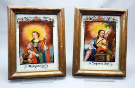 Paar Hinterglas-Darstellungen Hinterglasmalerei. Im Rechteck dargestellter Hl. Johanne