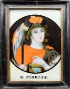 Heiliger Florian von Lorch Hinterglasmalerei. Im Kreis dargestellter Hl. Florian, in s