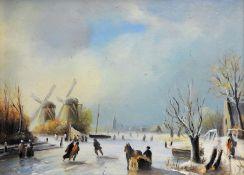 Winterliches Eisvergnügen Öl/Holz. Auf einem zugefrorenen Fluss vergnügen sich eini