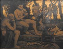 Hans Thoma, 1839 Oberlehen – 1924 Karlsruhe Lithographie/Papier. An einem Weiher spi