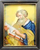Heiliger Markus Evangelist Hinterglasmalerei. Vor gelbem Hintergrund schreibender Hl.