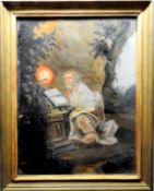 Heiliger Petrus Hinterglasmalerei. In einer Grotte sitzt der betende Petrus. Min. F.a.