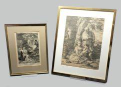 Paar biblische Kupferstiche Kupferstich/Papier. Der kleine Stich stellt Moses vor dem