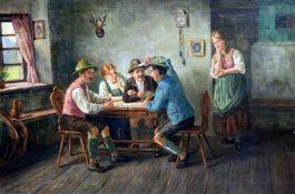 Beim Kartenspiel Öl/Leinwand. In einer bayerischen Stube spielen drei Männer in Trac